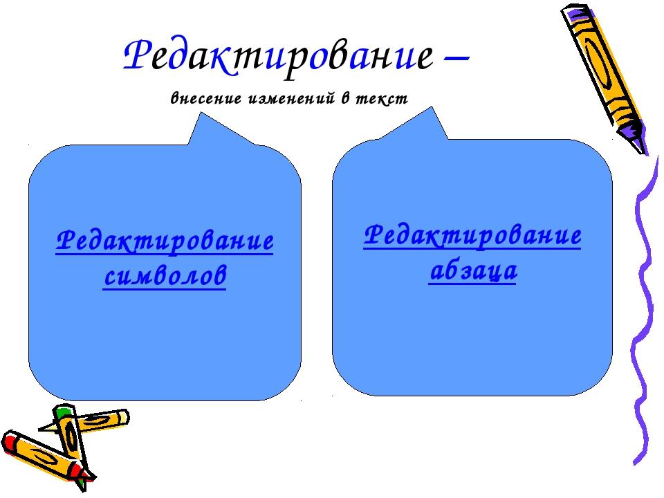 Редактирование – Редактирование символов Редактирование абзаца внесение измен...