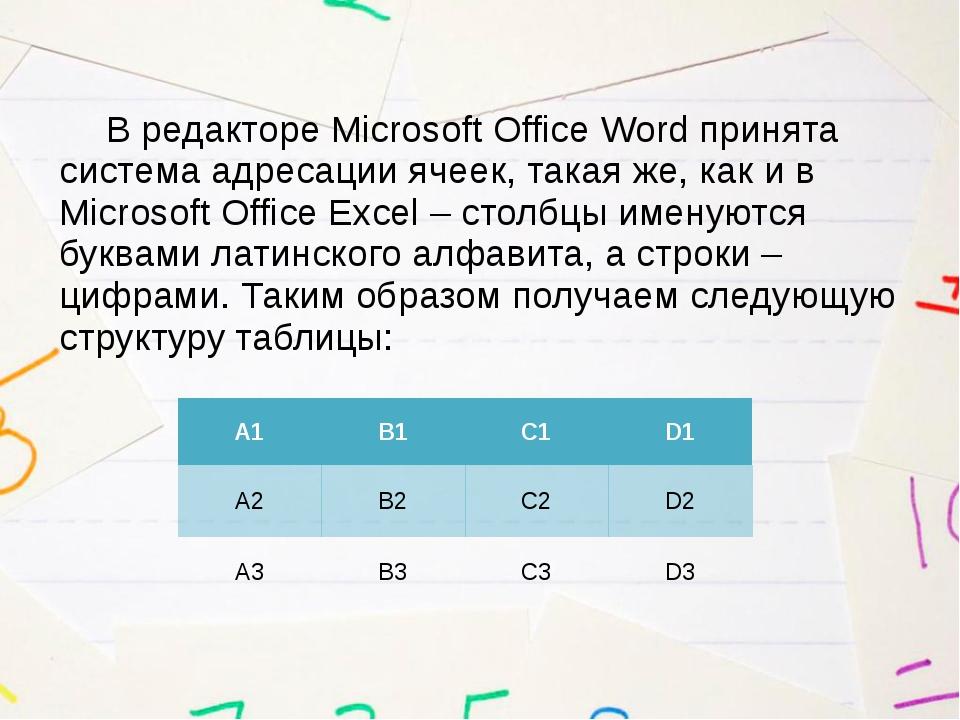 В редакторе Microsoft Office Word принята система адресации ячеек, такая же,...