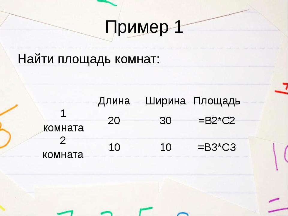 Пример 1 Найти площадь комнат: Длина Ширина Площадь 1 комната 20 30 =В2*С2 2...