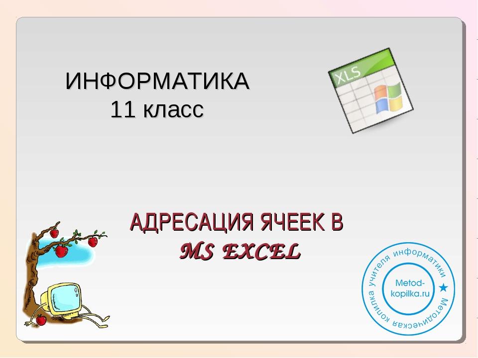 АДРЕСАЦИЯ ЯЧЕЕК В MS EXCEL