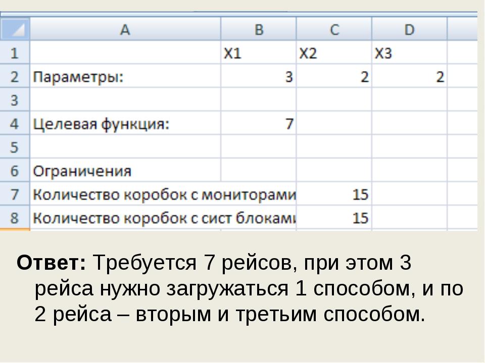 Ответ: Требуется 7 рейсов, при этом 3 рейса нужно загружаться 1 способом, и п...