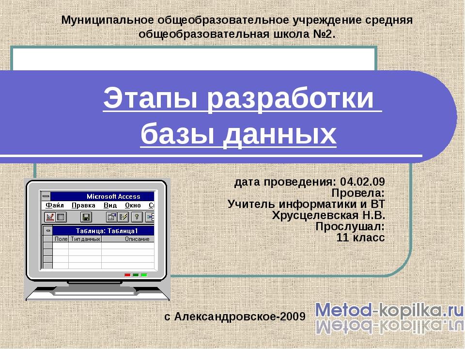 Этапы разработки базы данных дата проведения: 04.02.09 Провела: Учитель инфор...