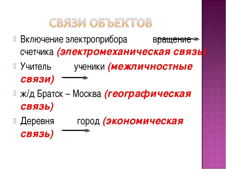 Включение электроприбора вращение счетчика (электромеханическая связь) Учител...