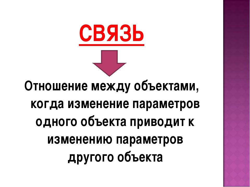 СВЯЗЬ Отношение между объектами, когда изменение параметров одного объекта пр...