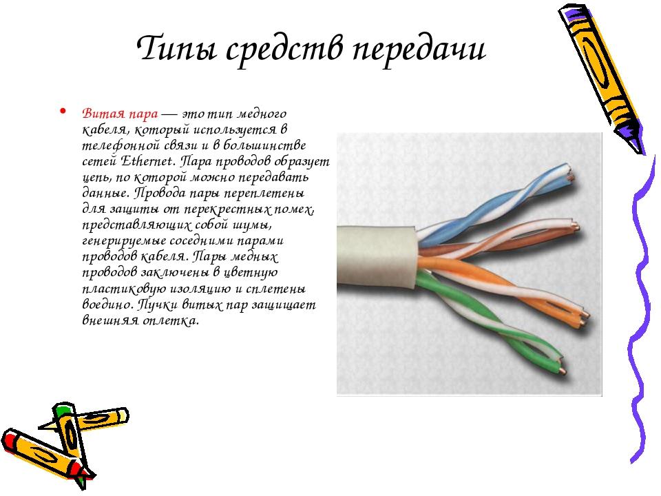Типы средств передачи Витая пара — это тип медного кабеля, который использует...