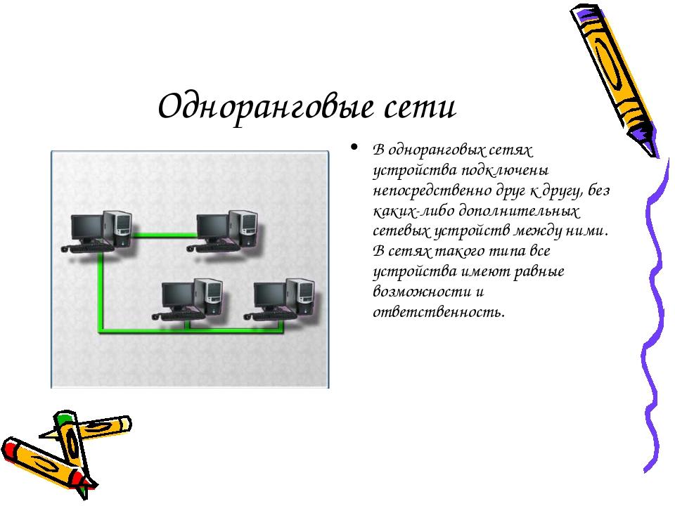 Одноранговые сети В одноранговых сетях устройства подключены непосредственно...