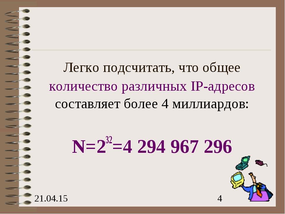Легко подсчитать, что общее количество различных IP-адресов составляет более...