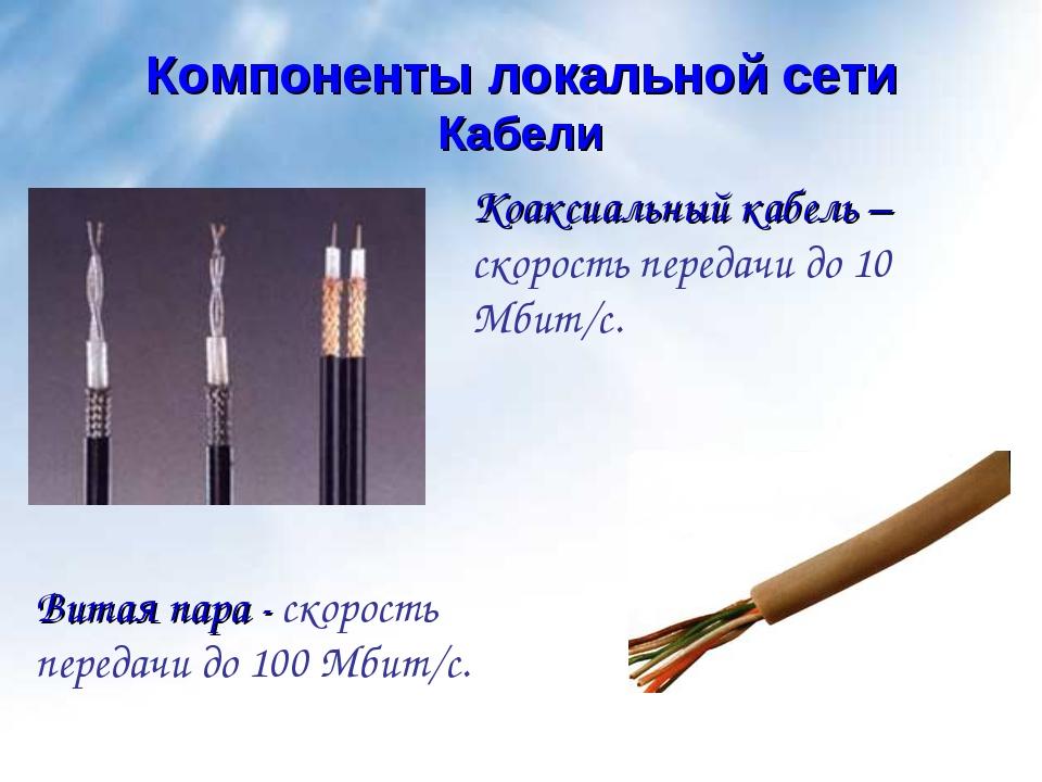 Кабели Компоненты локальной сети Коаксиальный кабель – скорость передачи до 1...