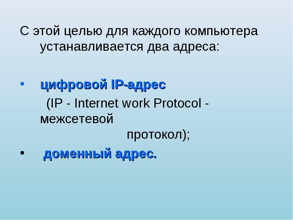 С этой целью для каждого компьютера устанавливается два адреса: цифровой IP-а...
