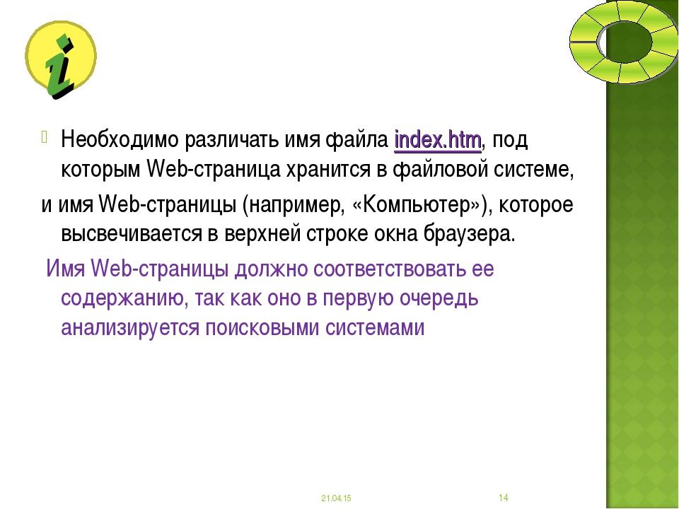 Необходимо различать имя файла index.htm, под которым Web-страница хранится в...