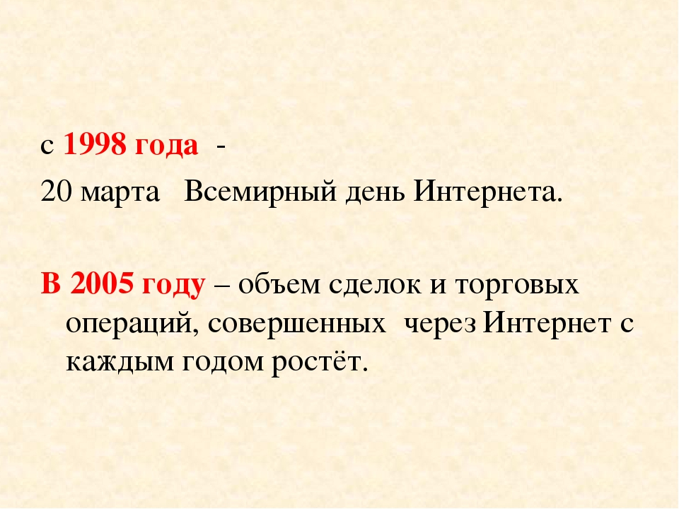с 1998 года - 20 марта Всемирный день Интернета. В 2005 году – объем сделок и...