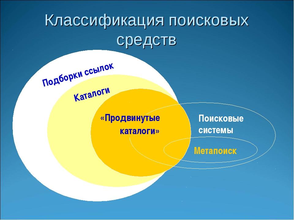 Классификация поисковых средств