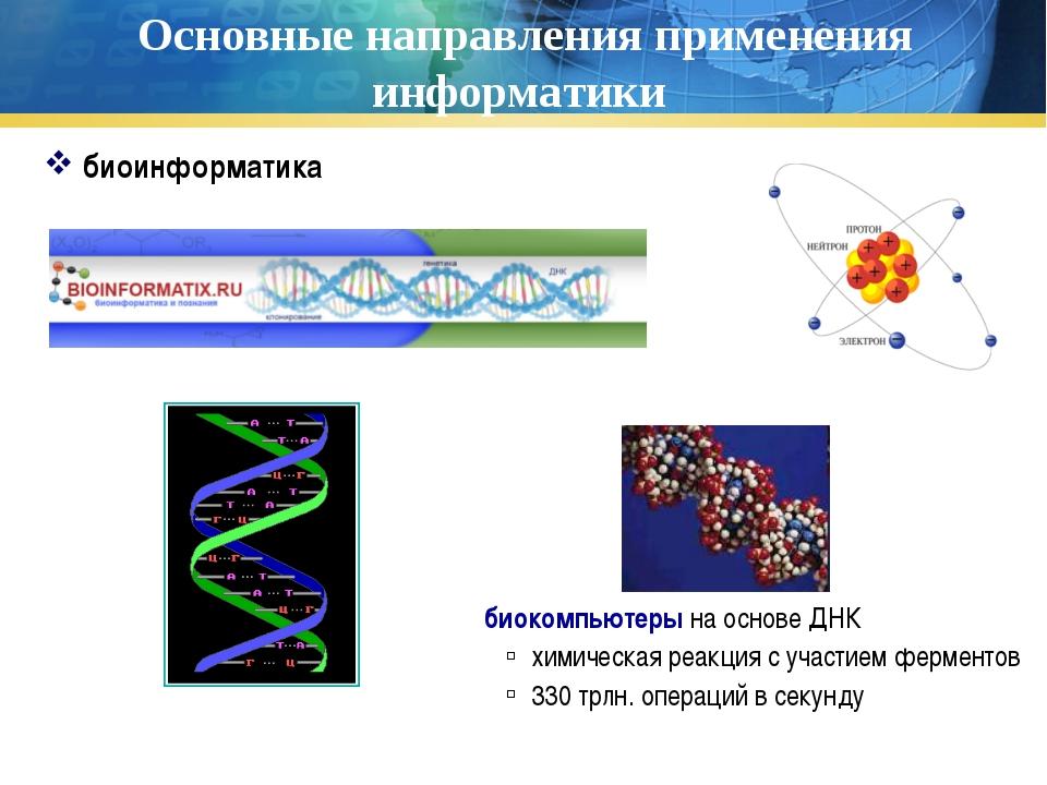 Основные направления применения информатики биоинформатика биокомпьютеры на о...
