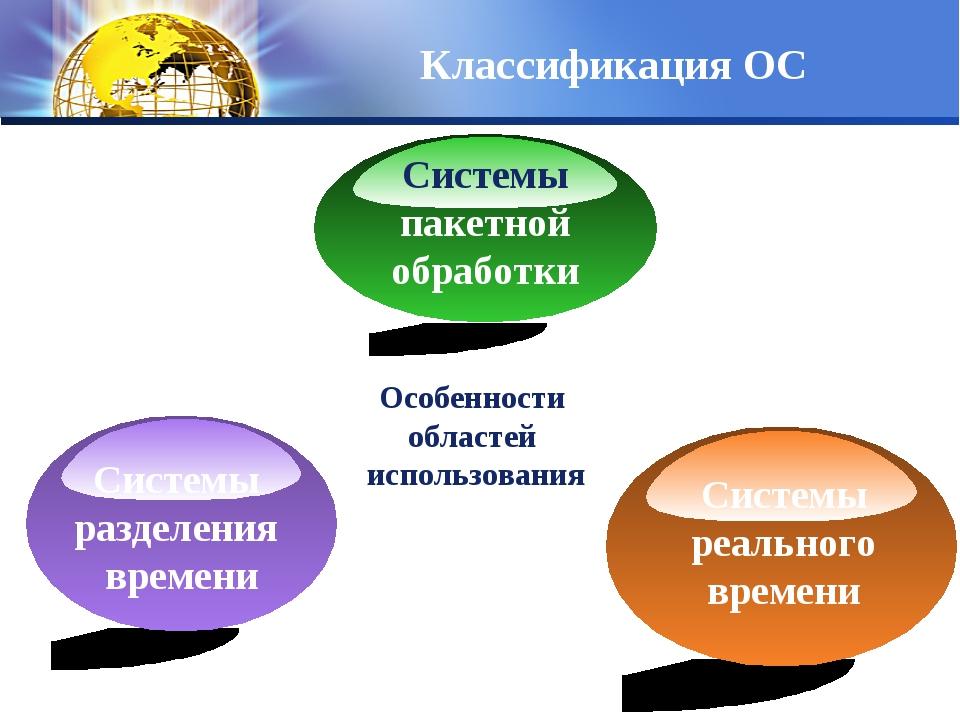 Особенности областей использования Классификация ОС