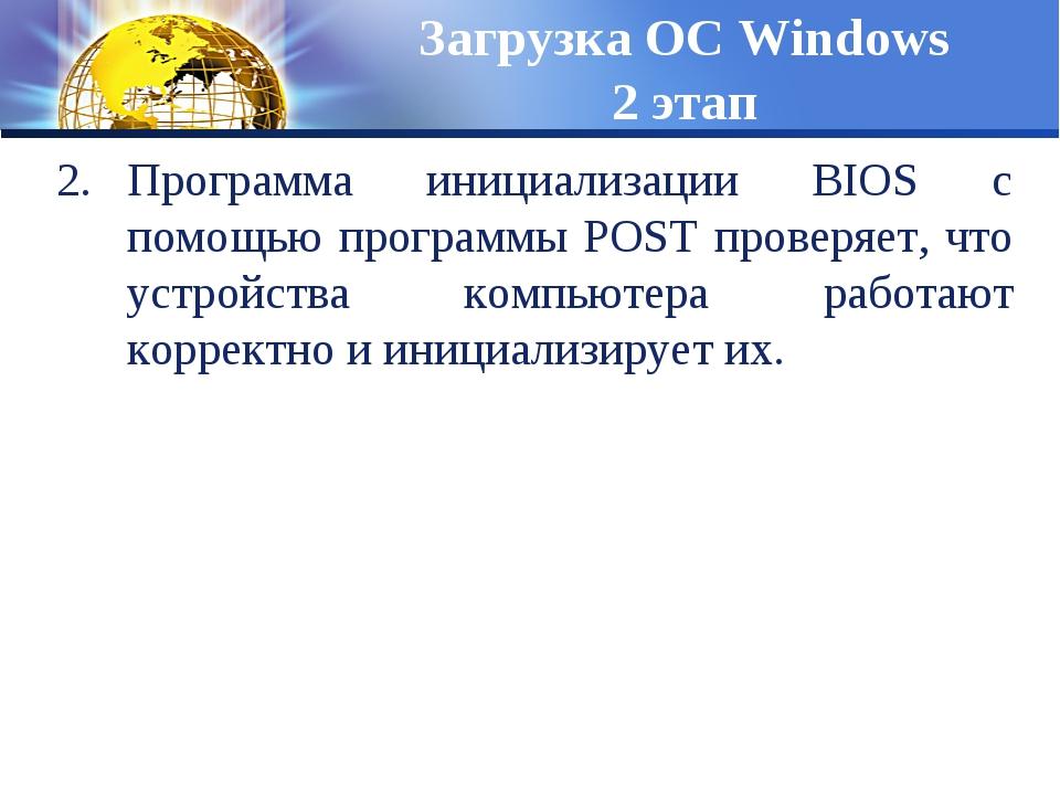 Программа инициализации BIOS с помощью программы POST проверяет, что устройст...