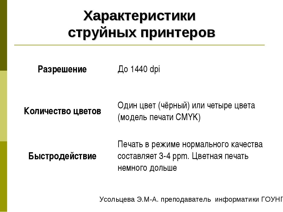 Характеристики струйных принтеров РазрешениеДо 1440 dpi Количество цветовОд...