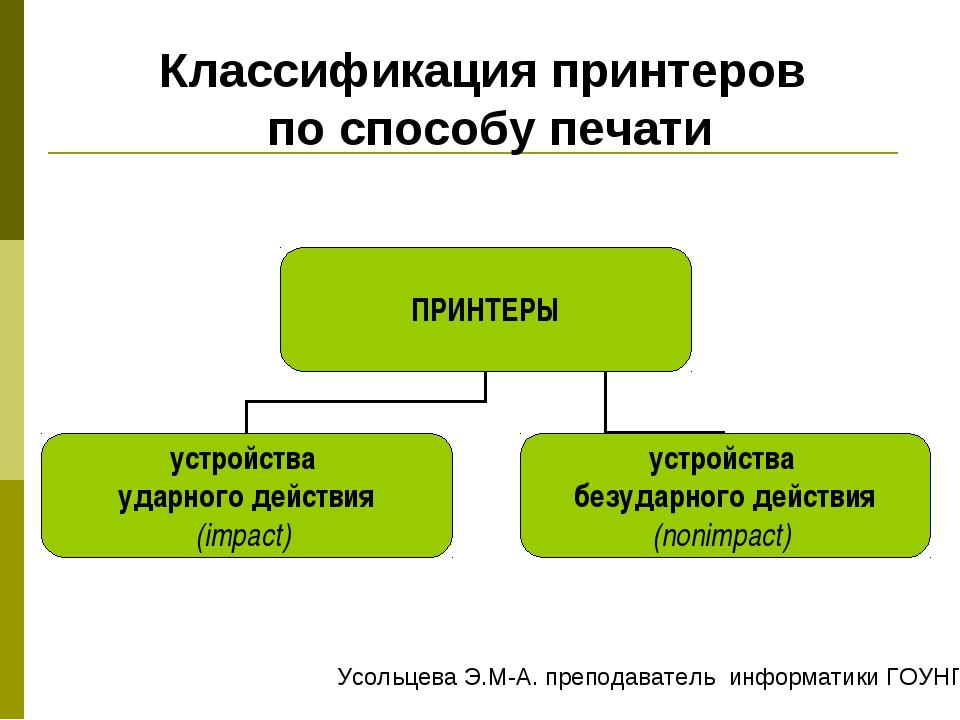 Классификация принтеров по способу печати Усольцева Э.М-А. преподаватель инфо...