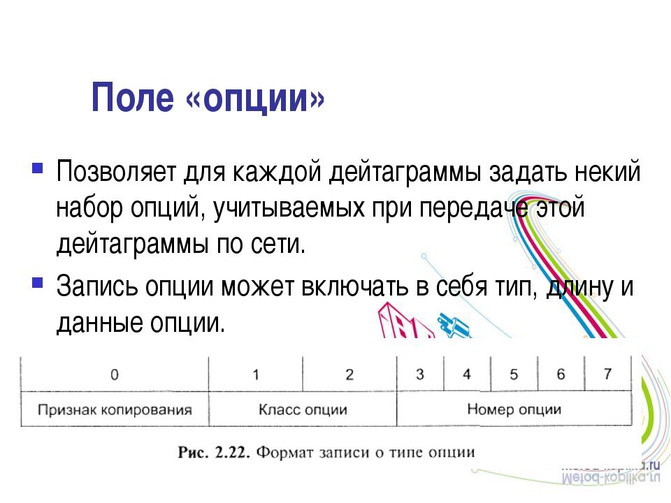 Поле «опции» Позволяет для каждой дейтаграммы задать некий набор опций, учиты...