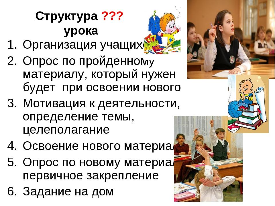 Структура ??? урока Организация учащихся Опрос по пройденному материалу, кото...