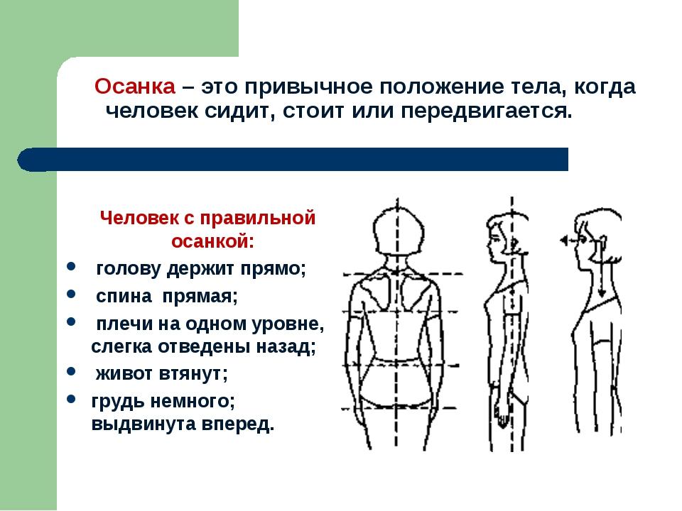 Осанка – это привычное положение тела, когда человек сидит, стоит или передв...