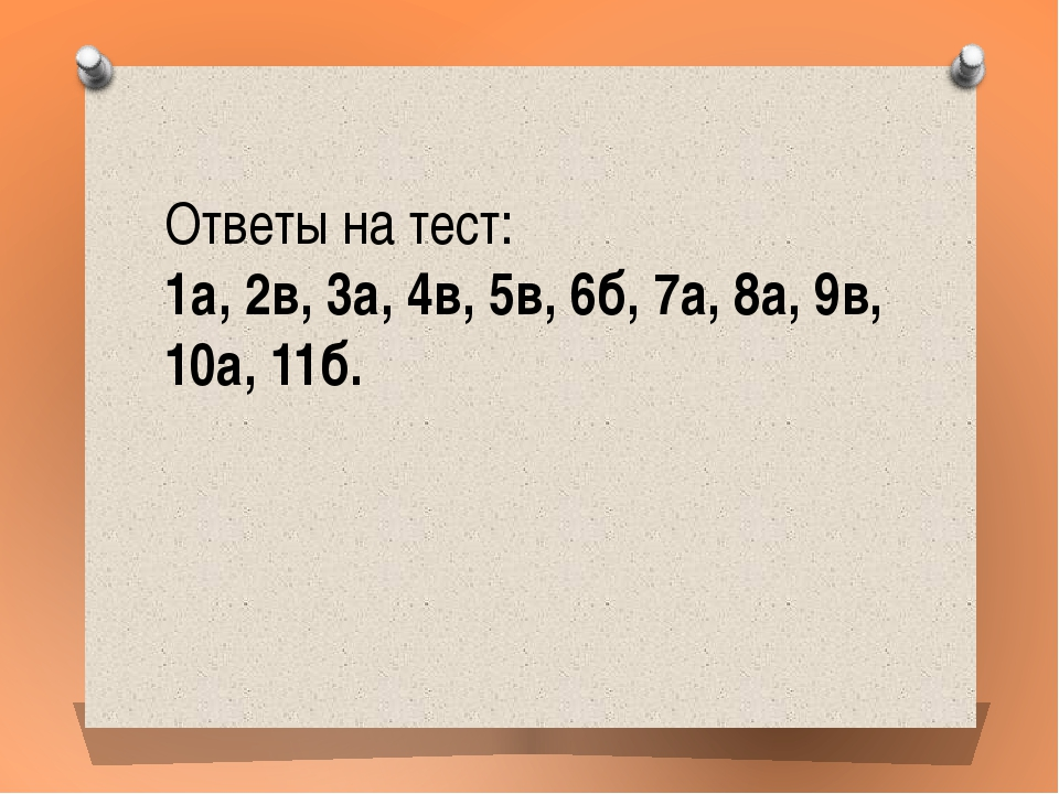 Ответы на тест: 1а, 2в, 3а, 4в, 5в, 6б, 7а, 8а, 9в, 10а, 11б.