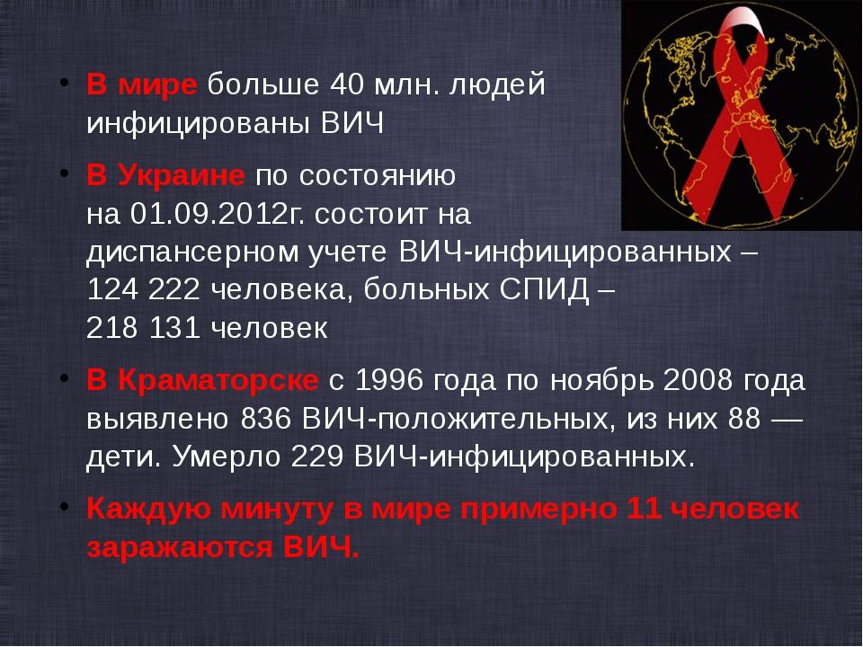 В мире больше 40 млн. людей инфицированы ВИЧ В Украине по соcтоянию на 01.09....