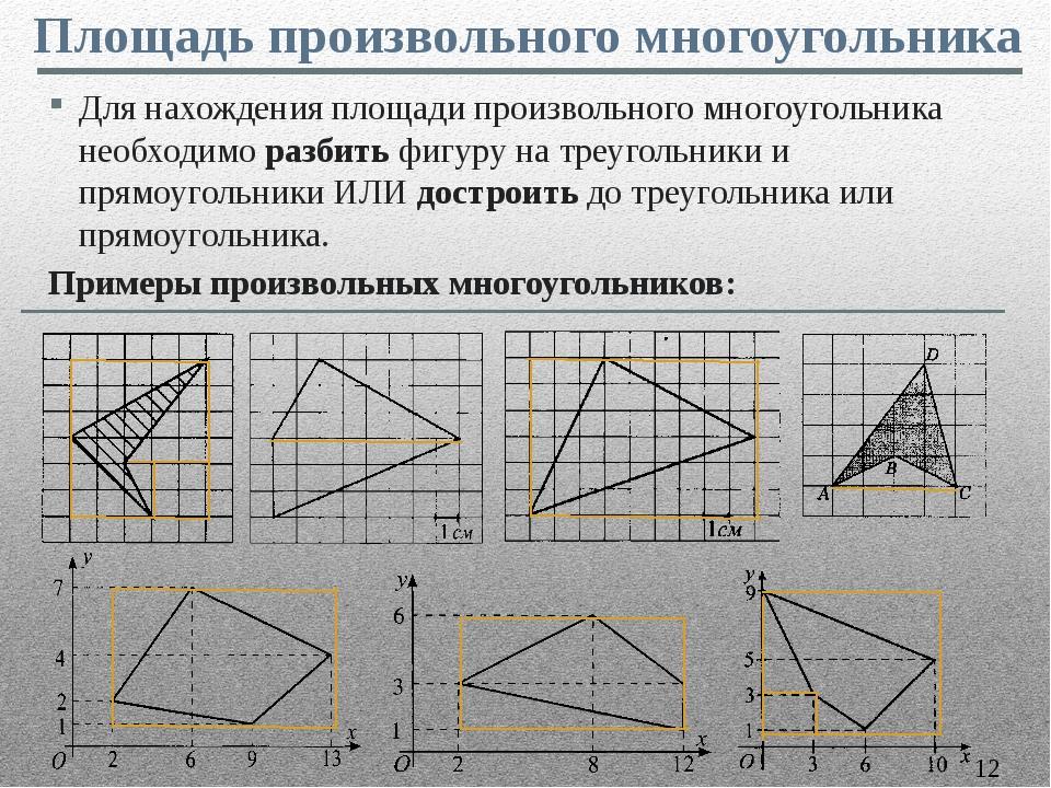 Для нахождения площади произвольного многоугольника необходимо разбить фигур...