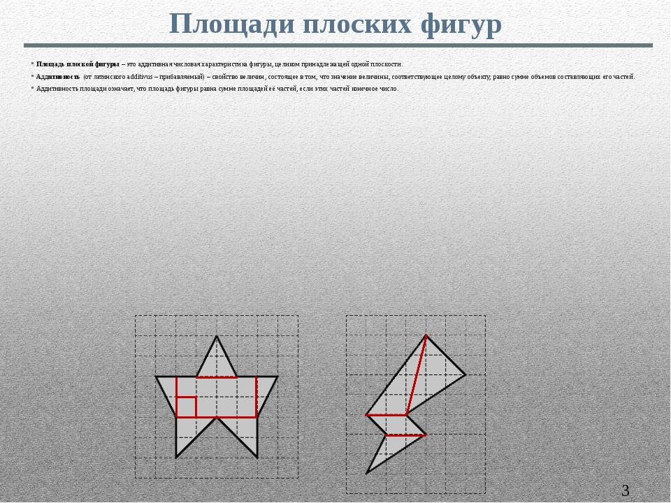 Площадь плоской фигуры – это аддитивная числовая характеристика фигуры, целик...