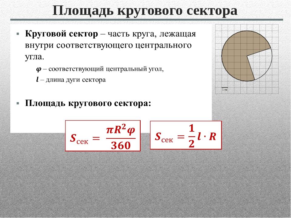 Площадь кругового сектора