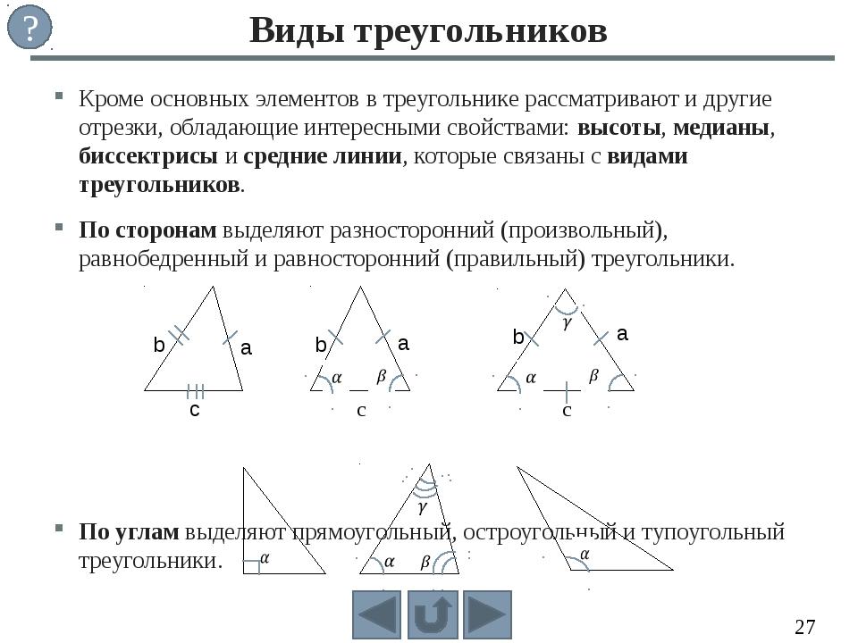 Кроме основных элементов в треугольнике рассматривают и другие отрезки, облад...