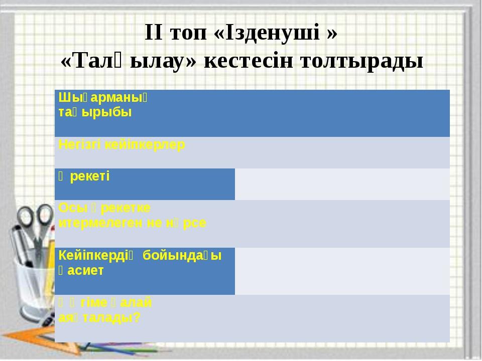 ІІ топ «Ізденуші » «Талқылау» кестесін толтырады Шығарманың тақырыбы   Негі...