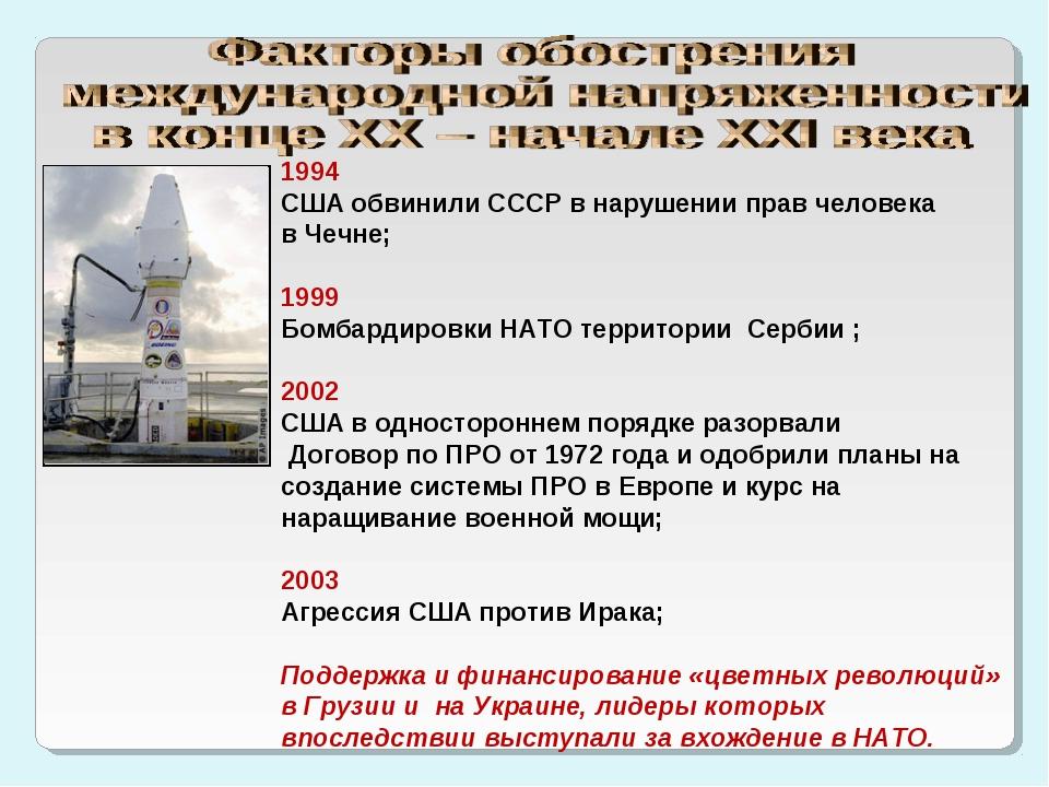 1994 США обвинили СССР в нарушении прав человека в Чечне; 1999 Бомбардировки...