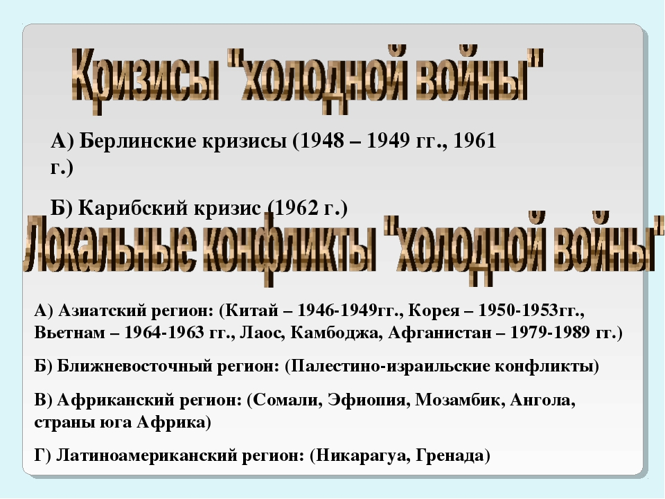 А) Берлинские кризисы (1948 – 1949 гг., 1961 г.) Б) Карибский кризис (1962 г....