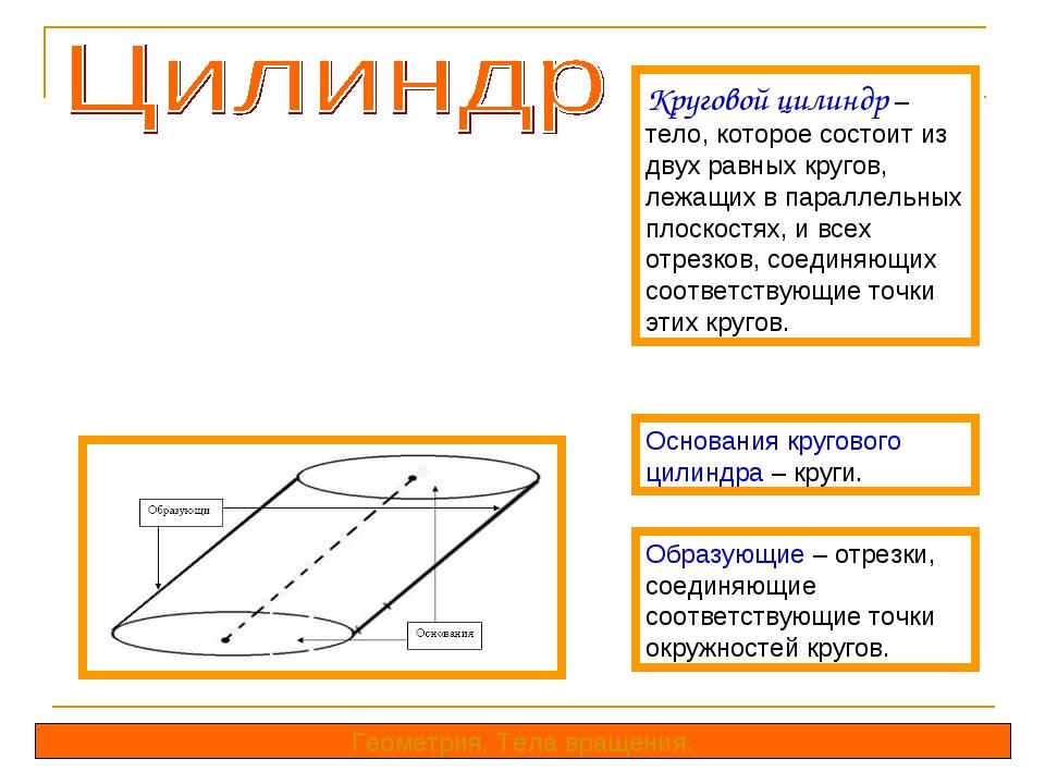 Круговой цилиндр – тело, которое состоит из двух равных кругов, лежащих в пар...