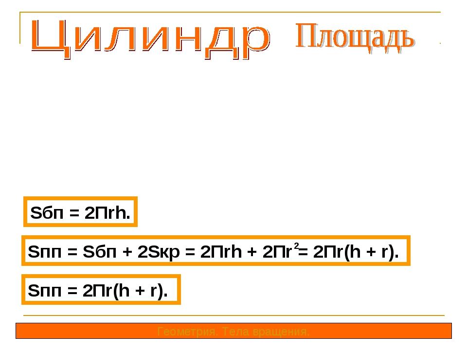 Sбп = 2Пrh. Геометрия. Тела вращения. Sпп = Sбп + 2Sкр = 2Пrh + 2Пr = 2Пr(h +...