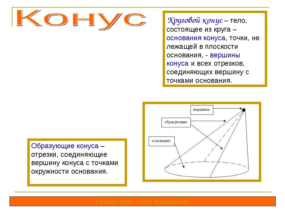 Круговой конус – тело, состоящее из круга – основания конуса, точки, не лежащ...