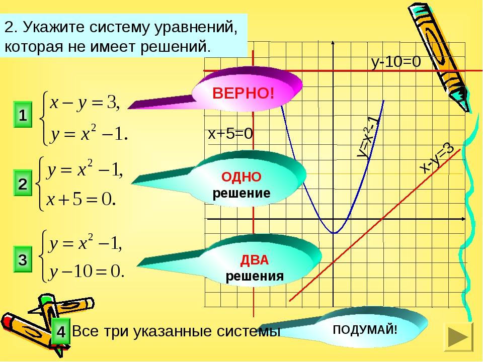 1 3 2 2. Укажите систему уравнений, которая не имеет решений. 4 ОДНО решение...