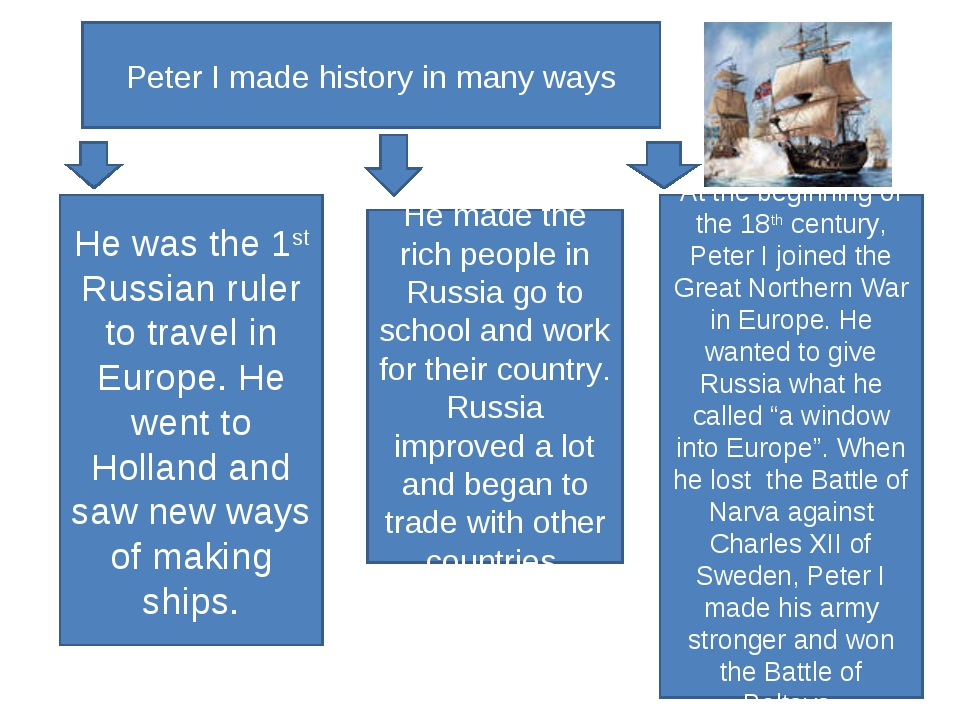 Peter I made history in many ways He was the 1st Russian ruler to travel in E...
