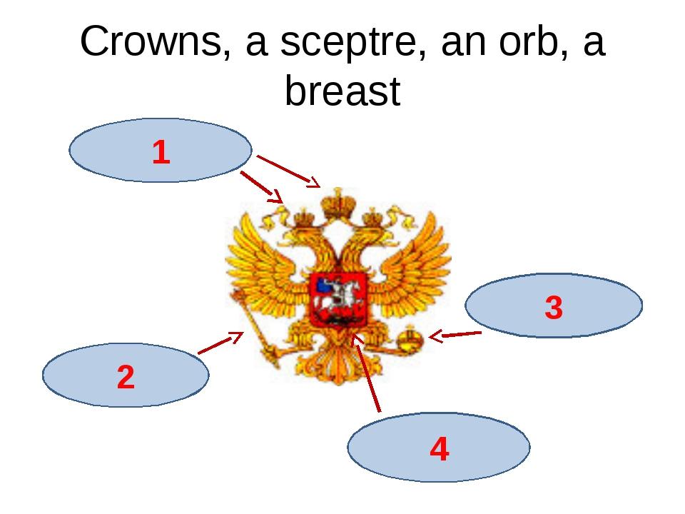 Crowns, a sceptre, an orb, a breast 1 3 2 4