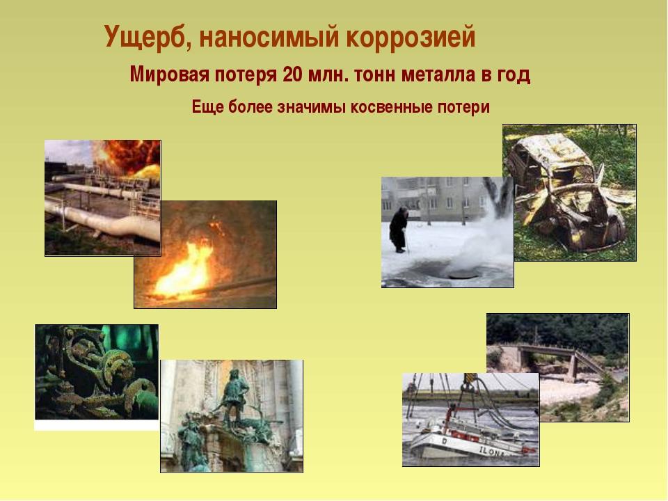 Ущерб, наносимый коррозией Мировая потеря 20 млн. тонн металла в год Еще боле...