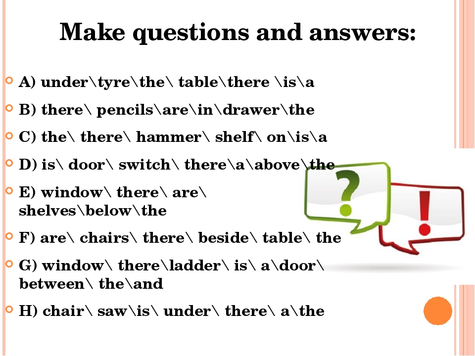 Make questions and answers: A) under\tyre\the\ table\there \is\a B) there\ pe...