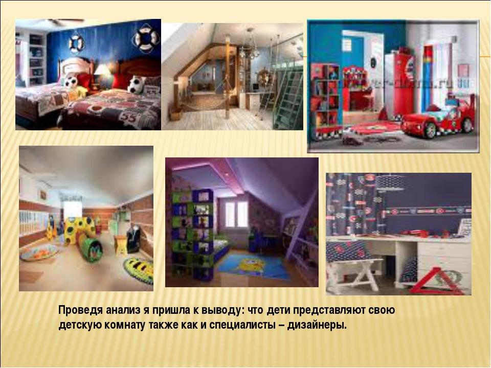 Проведя анализ я пришла к выводу: что дети представляют свою детскую комнату...