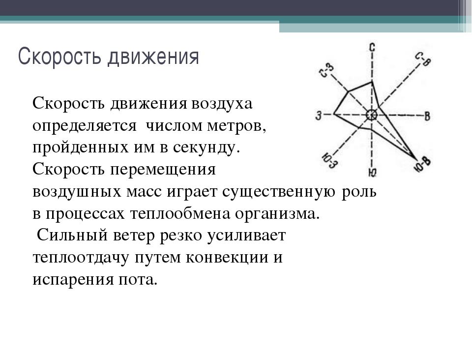 Скорость движения Скорость движения воздуха определяется числом метров, пройд...