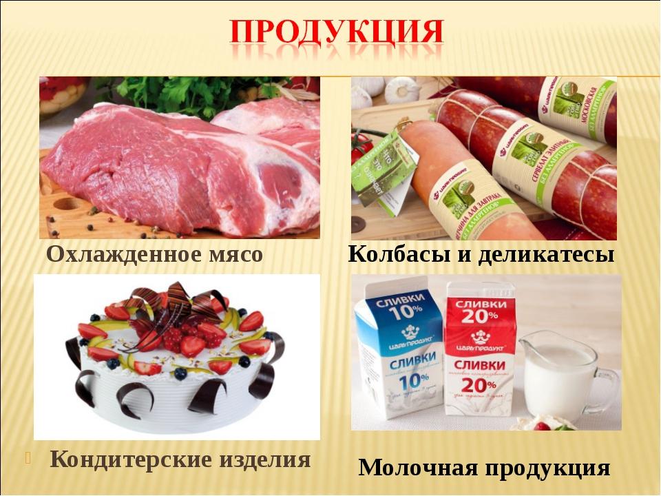 Кондитерские изделия Охлажденное мясо Колбасы и деликатесы Молочная продукция