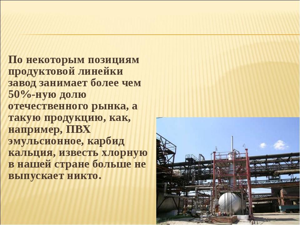 По некоторым позициям продуктовой линейки завод занимает более чем 50%-ную до...