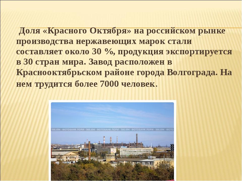 Доля «Красного Октября» на российском рынке производства нержавеющих марок с...