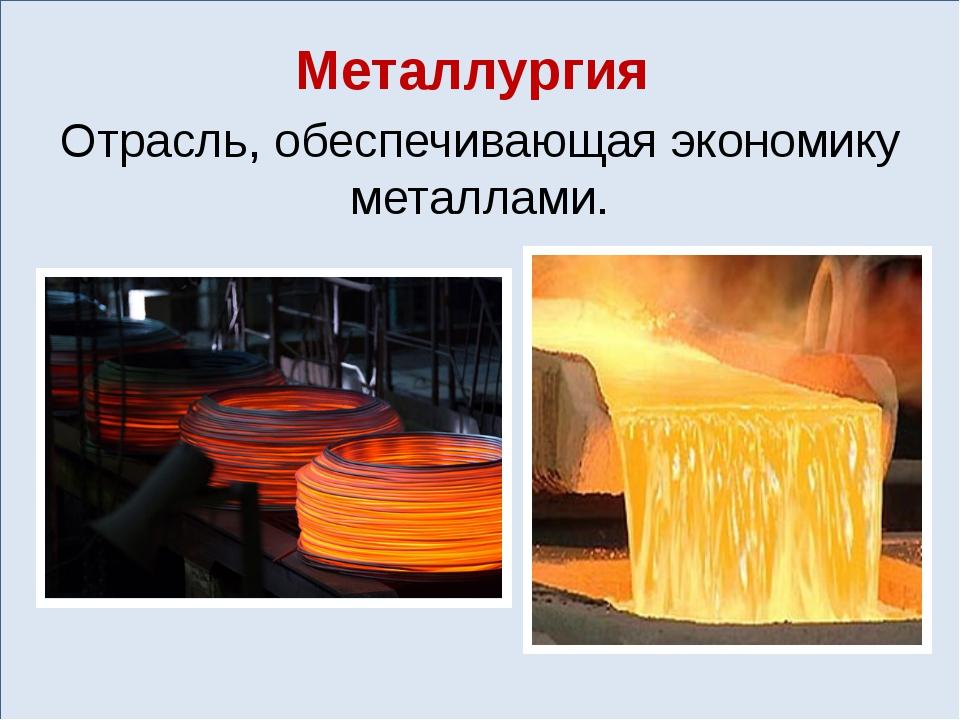 Металлургия Отрасль, обеспечивающая экономику металлами.