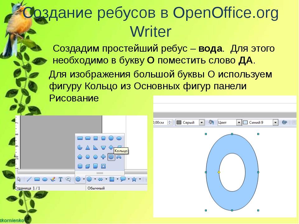 Создание ребусов в OpenOffice.org Writer Создадим простейший ребус – вода. Дл...