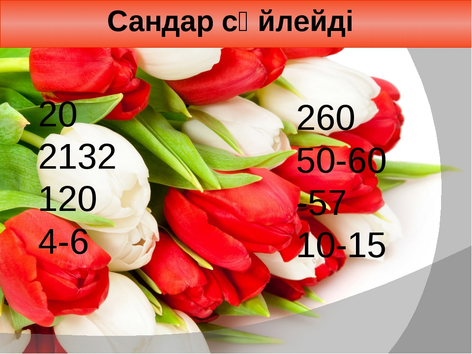 Сандар сөйлейді 20 2132 120 4-6 260 50-60 -57 10-15