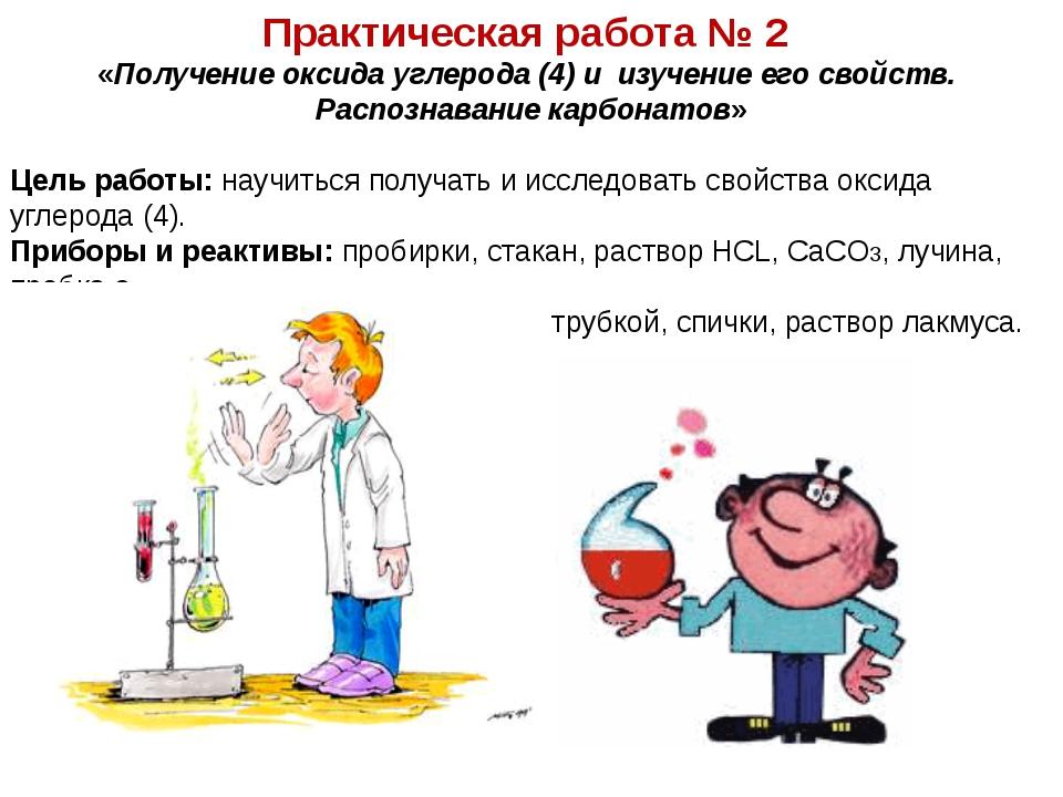 Практическая работа № 2 «Получение оксида углерода (4) и изучение его свойств...